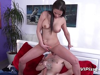 Kinky brunette, Barbara Bieber is peeing and getting fucked in the morning, before going to work
