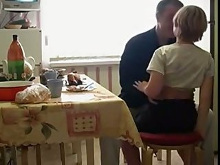 Naughty Russian teen stands atop knees as she wanna suck delicious cock
