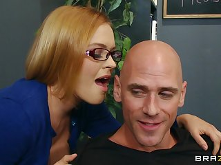 Seductive secretary Krissy Lynn loves having sex on the office table