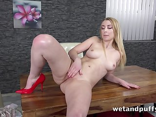 Babe's legs look enticing with those heels beyond everything and she loves masturbating