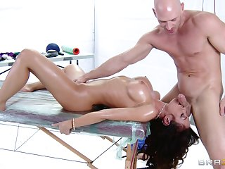 Slobber deep throat and pussy fucking during a massage for Capri Cavanni