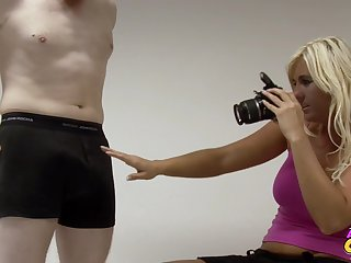 Blonde photographer enjoys stoking dick of her buyer - Donna Mills