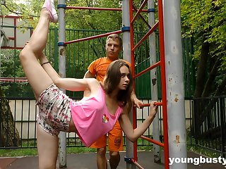 Flexible naturally busty teen gets fucked substantiation some nice street warming up