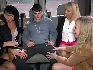 Cock hungry matures Ivana with an increment of Iveta have nasty set up sex in the van