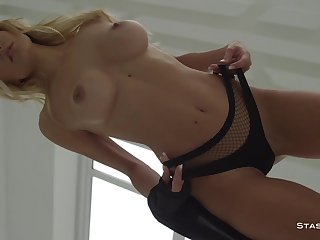 Busty russian beauty exposing her outright big tits and amazing body - Babe