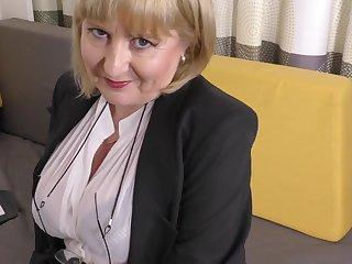 A highly pizzazz job interview by 57yo seductive Lorna blu