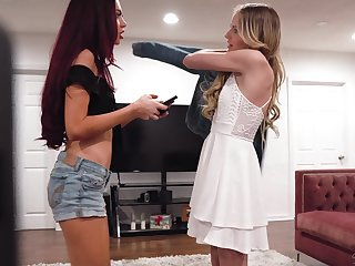 Lesbo best friends Scarlett Sage coupled with Sabina Rouge appreciation each other