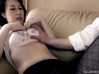 Pale Japanese chick gets her pussy fingered and penetrated