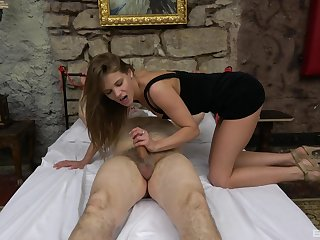 Old man tied with regard to and gets his stiff dick pleasured by a sexy chick