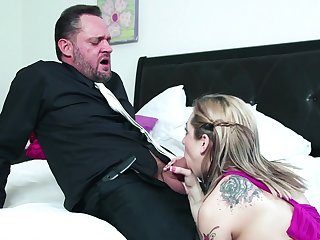 Aroused doll gagged increased away from fucked away from her own stepdad