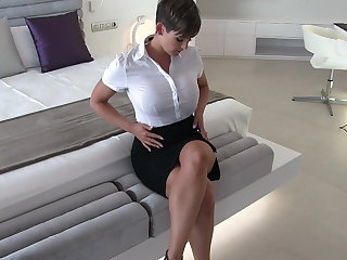 Sexy secretary wet clothes castle in the air
