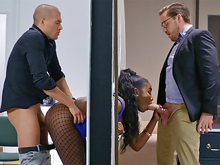 Insatiable bosses ravaged catch on to bootylicious dark-hued in the wall