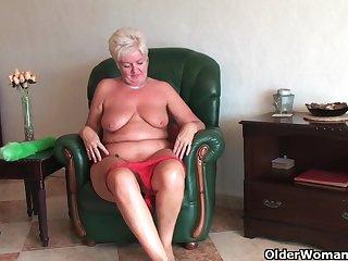 European Grandma Deborahs Old Cunt Loves Getting Fingered Together with Dildo Fucked